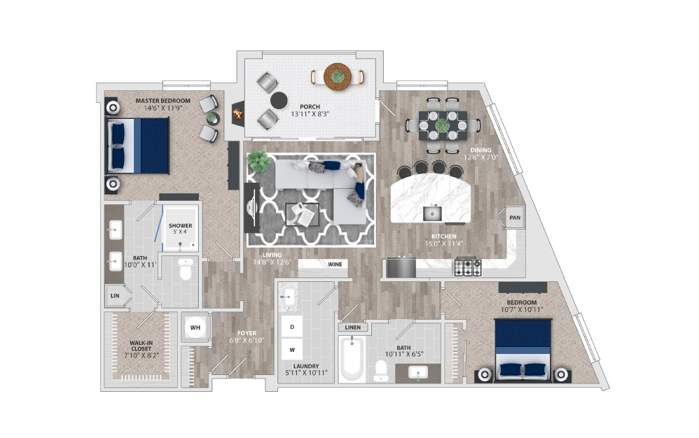 B1 - 2 bedroom floorplan layout with 2 baths and 1569 square feet.