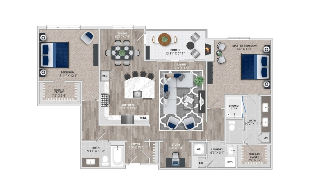 B2 - 2 bedroom floorplan layout with 2 baths and 1630 square feet.