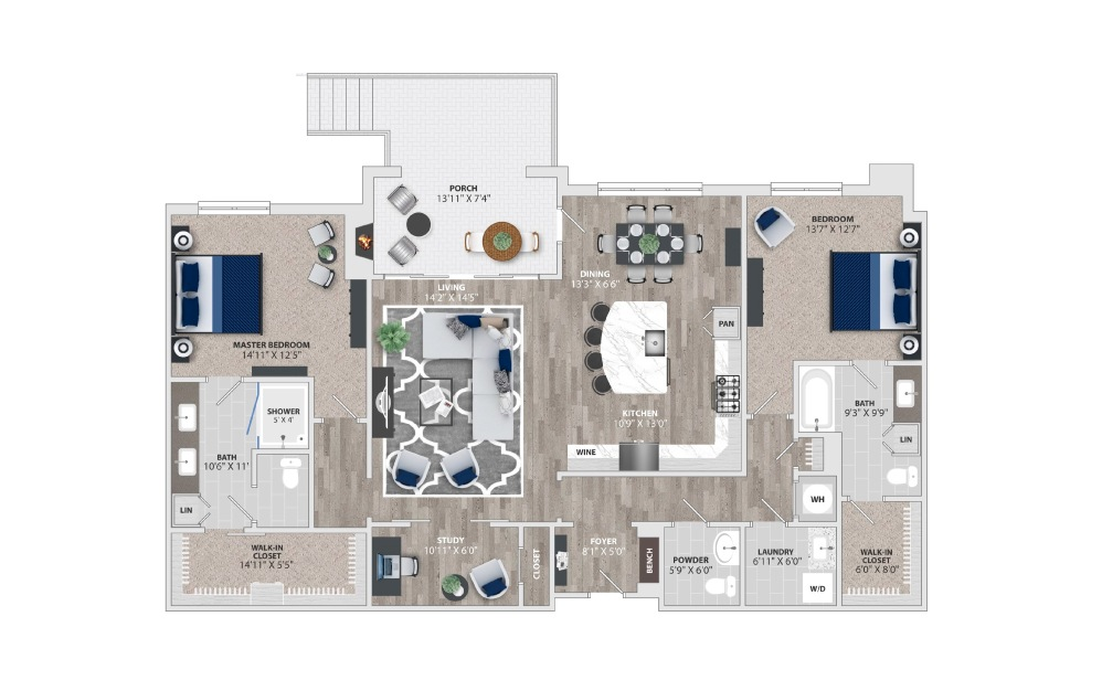 B3 - 2 bedroom floorplan layout with 2.5 baths and 1899 square feet.