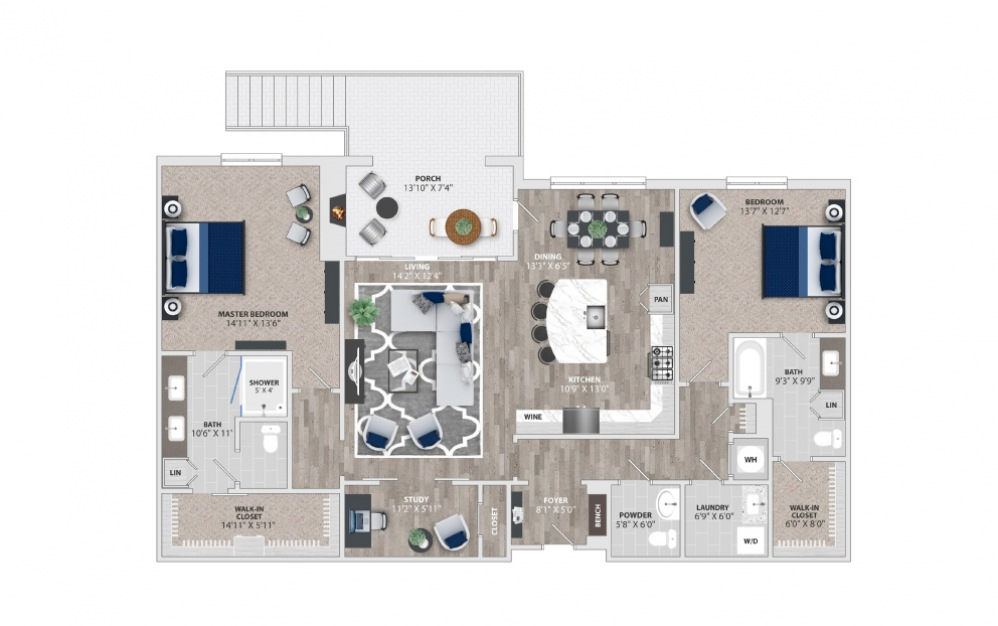 B5 - 2 bedroom floorplan layout with 2.5 baths and 1873 to 1955 square feet.
