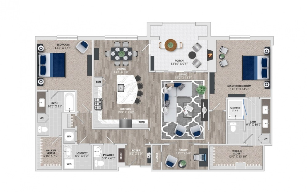 B6 - 2 bedroom floorplan layout with 2.5 baths and 1897 to 1906 square feet.