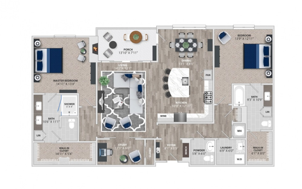 B7 - 2 bedroom floorplan layout with 2.5 baths and 1892 to 1895 square feet.