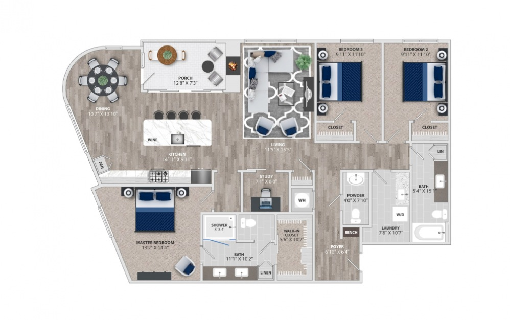 C1 - 3 bedroom floorplan layout with 2 baths and 1974 to 1978 square feet.